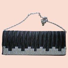 Black Satin Rhinestone Clutch Evening Bag for the Holidays