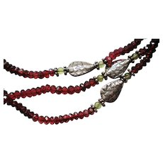 Sterling Silver Garnet Glass Bead Triple Strand Necklace