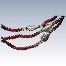 Sterling Silver Garnet Glass Bead Triple Strand Necklace