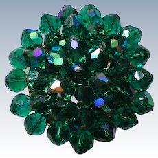 Vintage Green Glass Beaded Brooch