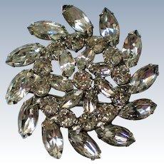Weiss Clear Marquis Cut Rhinestone Floral Brooch