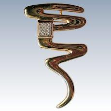 Park Lane Modernist Gold tone Rhinestone Pin or Pendant