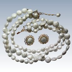 Rare Freirich Triple Strand Beaded Necklace with Clip Earrings