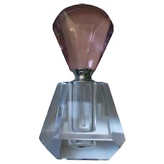 Geometric Glass Perfume Bottle with Pink Stopper