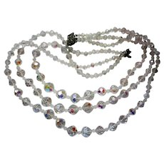 Austrian Crystal Triple Strand Necklace