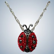 Sterling Silver Red Austrian Crystal Lady Bug Pendant Necklace