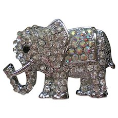 Rhinestone Studded Elephant Pin