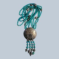 Fabulous Faux Turquoise Native American Necklace