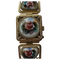 Russia Yanka Hidden Bracelet Watch with Enameled and Filigree Links