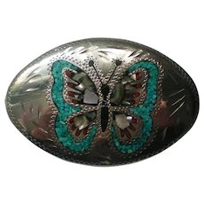 Silver plate Turquoise and Mother of Pearl Butterfly Belt Buckle