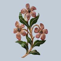 Metal Flower Brooch with Enameled Flowers