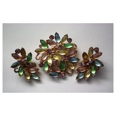 Rare AVON Floral Brooch with Clip Earrings Set