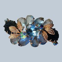 Ice Blue Flower Brooch with Gold tone Leaves