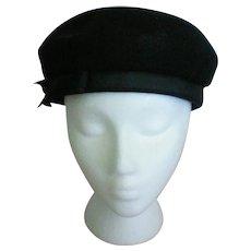 Black Felt Beret Ladies Hat by Lancaster Madcaps