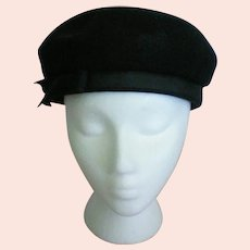 Black Felt Beret Ladies Hat by Lancaster Madcaps
