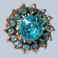 Aqua Blue Sunflower Statement Ring