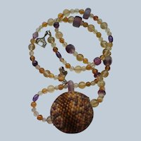 Earth Ball Seed Bead Necklace