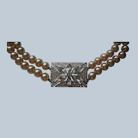 Double Strand Simulated Pearl Choker with Center Rhinestone Embellishment