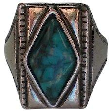 Adjustable Diamond Shaped Southwestern Faux Turquoise Ring