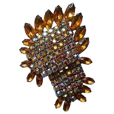 Fabulous Layered AB and Amber Colored Rhinestone Brooch