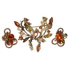 Amber Colored Rhinestone Pin and Clip Earrings Set
