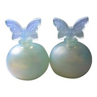 Frosted Satin Glass Perfume Bottles with Butterfly Stoppers