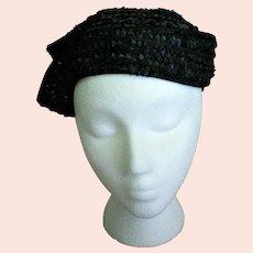 Black Straw Clip Hat