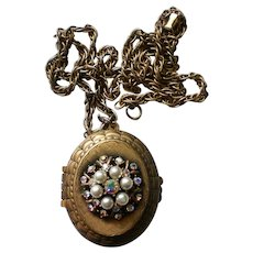 Aurora Borealis Rhinestone and Faux Pearl Locket Pendant Necklace