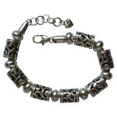 Brighton Silver tone Tube Bead Bracelet