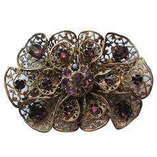 Signed Czechoslovakia Filigree Rhinestone Sash Pin or Brooch