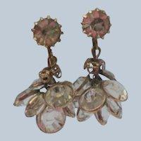 Caged Crystal Dangle Rhinestone Clip Earrings