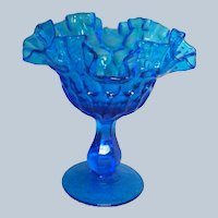 Fenton Glass Colonial Blue Compote