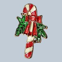 Enameled Candy Cane Pin for Christmas Holidays