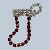 Rhinestone Santa Boot Pin for Christmas Holidays