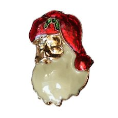 Enameled Santa Pin for Christmas Holidays