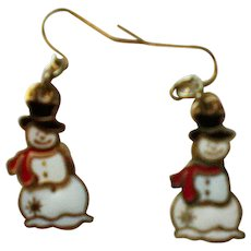 Triple Dangle Snowman Earrings for Winter Holidays