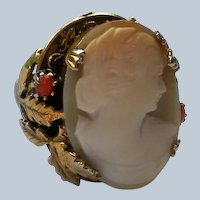 Ornate Carved Shell Cameo Ring with Coral Accents