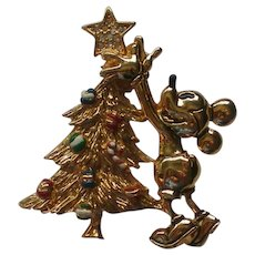 Disney Napier Mickey Mouse with Christmas Tree Pin