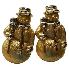 Gold tone Snowmen Pierced Earrings for the Christmas Holidays