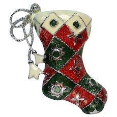 Santa's Boot Christmas Stocking Pin