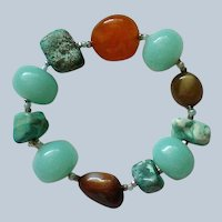 Polished Stones Stretch Bracelet with Carnelian, Jade, and Turquoise
