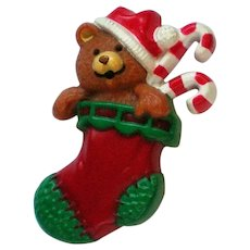 Molded Teddy Bear in Stocking Christmas Pin