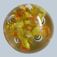 Glass Globe Paperweight with Yellow Flowers