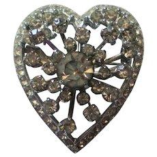 Dazzling Rhinestone Valentine Heart Pin