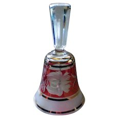 Ruby Red Flashed Cut to Clear Bohemian Crystal Floral Etched Glass Bell