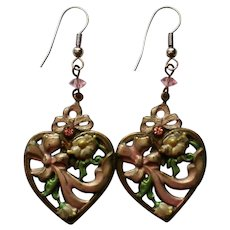 Valentine Heart with Ribbon and Flowers Pierced Earrings