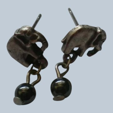 Miniature Pewter Elephant Pierced Earrings
