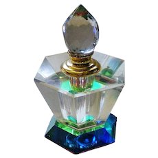 Green and Blue Accent Glass Perfume Bottle