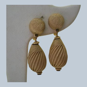 Monet Brushed Gold tone Metal Dangle Clip Earrings