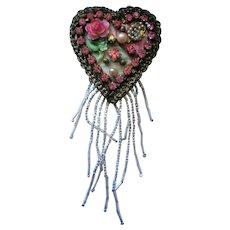Signed Artisan Heart Brooch